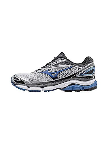 Mizuno Men's Wave Inspire 13 Running Shoes, Silver/True Blue/Black, 7 D US
