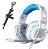 White Gaming Headset for Xbox One,PS4,PC,Laptop,Tablet with Mic,Pro Over Ear Headphones,Two Free 3.5mm Y Splitter,Noise Canceling,USB Led Light,Stereo Bass Surround for Kids,Mac,Smartphones