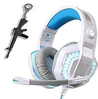 Xbox One、PS4、PC、ノートパソコン、タブレット、マイク付きプロオーバーイヤーヘッドホン、2つの無料3.5mm Yスプリッター、ノイズキャンセリング、USBLEDライト、ステレオバスサラウンド、子供、Mac、スマートフォン用