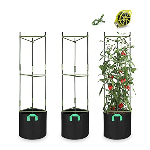 CEED4U 3 Packs Plant Support Cages Assembled Tomato Garden Cages Stakes Vegetable Trellis, with 3Pcs 10 Gallon Grow Bags, 9Pcs Plant Clips, 328Feet Twist Tie, for Vertical Climbing Plants