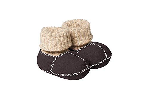 Fellhof 6612 Baby Patscherl Balu aus Lammfell, Größe 18, Strickbund aus Baumwolle, handgefertigte Ziernähte (braun)