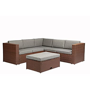 Baner Garden K35-BR 4 Pieces Outdoor Furniture Complete Patio Cushion Wicker Rattan Garden Corner Sofa Couch Set, Full, Brown