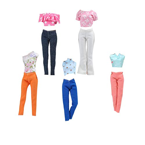 Snner 5set Puppenkleidung Set Fashion Casual Wear Kleidung Outfits Set Puppenkleidung Ersatz Für 29cm Barbie-Puppen