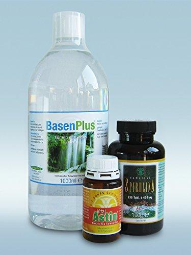 Entsäuerung - Das Entsäuerungs-Konzept mit 1 Liter BasenPlus - Basisches Wasser, Astaxanthin 60 Kaps. & 250 Tabletten Spirulina