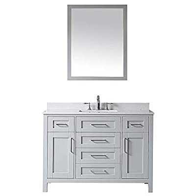 Ove Decors Dove Grey Maya 48 Single Sink Vanity with Cultured Marble Top, Backsplash and Mirror, 48 inches