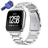 KOMI Correa de reloj compatible con Fitbit Versa 2 / Versa, correa de muñeca de acero inoxidable de metal