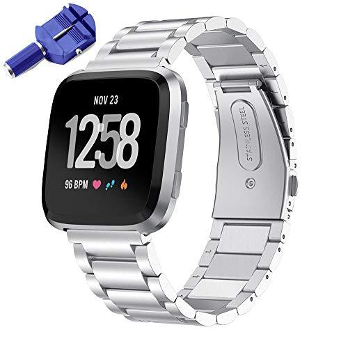 KOMI Uhrenarmband kompatibel mit Fitbit Versa 2 / Versa, Metall Edelstahl Fitness Armband