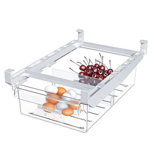 Contenedores organizadores de refrigerador, despensa transparente con asa, cubos de almacenamiento transparentes para nevera, cajón de recogida de cocina para frutas, verduras, huevos, carne, etc.