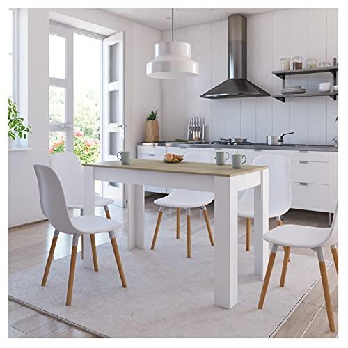 Tavolini Tavolo da pranzo per da 2 a 4 Piccolo spazio, tavolo da pranzo rettangolare standard tavolo da cucina da 47 pollici, bianco e rustico marrone