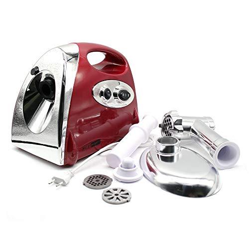 Berkalash Picadora de carne eléctrica de 2800 W, para embutir salchichas, con 3 placas de molienda y tubos de relleno para salchichas para uso doméstico, de acero inoxidable, color rojo