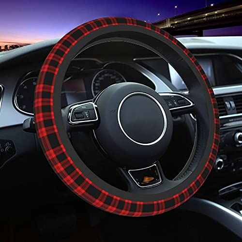 Chrismas New Year Tartan Car Steering Wheel Cover Car Anti-Skid Durable Automotive Interior For Men and Women 15inches