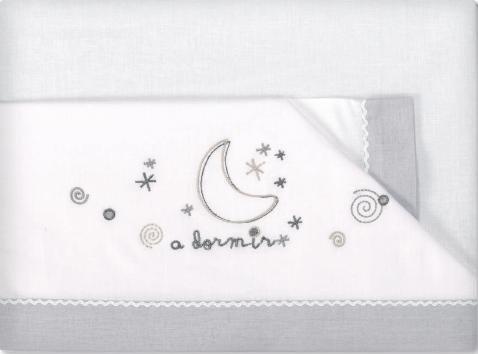 Pirulos A Dormir Juego de Sábanas 100% Algodón para Cuna de 60x120 cm/Juego de Sábanas Set, Color Blanco y Gris