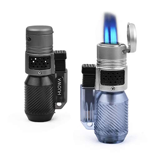 HUOWA Jet Torch Lighter Turbo Triple Flame with Visible Gas Window Butane Refillable Cigar Lighter 2 Pack -  YX