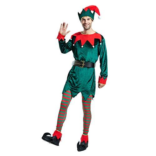 EraSpooky Costume da Elfo Natalizio da Uomo Cappello Fantasia Calza Copriscarpe Cintura Divertente Vestito da Festa per Adulto