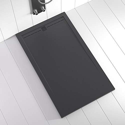 Shower Online Plato de ducha Resina FLOW - 70x140 - Textura Pizarra - Antideslizante - Todas las medidas disponibles - Incluye Rejilla Color Antracita y Sifón - Antracita RAL 7011