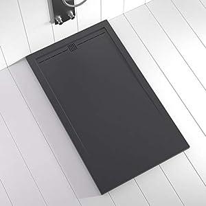 Shower Online Plato de ducha Resina FLOW - 80x110- Textura Pizarra - Antideslizante - Todas las medidas disponibles - Incluye Rejilla Color Antracita y Sifón - Antracita RAL 7011
