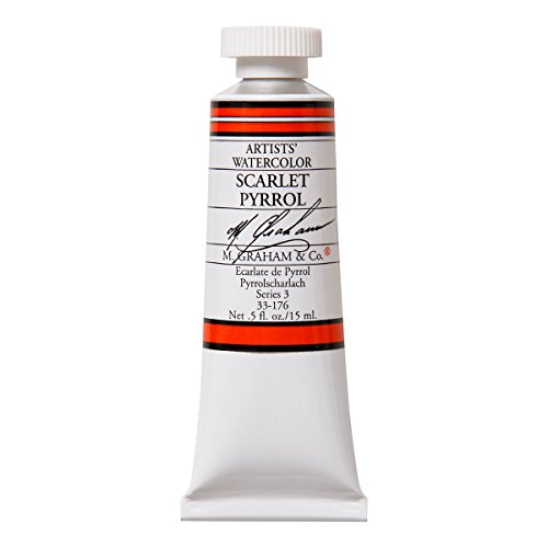 M. Graham 1/2-Ounce Tube Watercolor Paint, Scarlet (Pyrrol) (33-176)