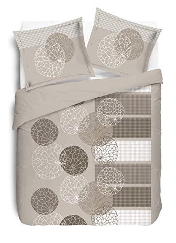 Vision - Funda nórdica y 2 Fundas de Almohada a Juego, algodón, Beige, algodón, Beige, 260 x 240 cm