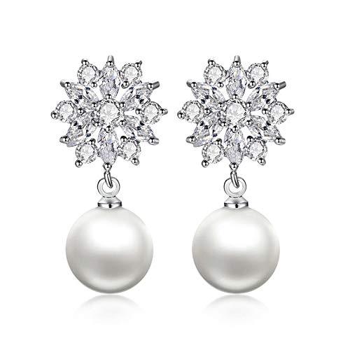 Ohrring Trendige Simulierte Perle Weibliche Tropfen Ohrringe Mit Blendenden Zirkon Elegante Luxus-party-gadget-ohrringe Für Frauen