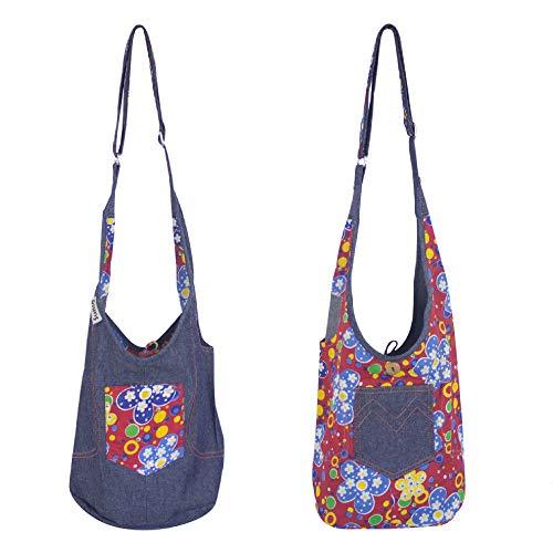 Sunsa Bolso de hombro para niños, pequeño bolso de guardería, para niñas, regalo de cumpleaños pequeño, bolso para niños, bolso de hombro casual, bolsa de tela vaquera / algodón hippie