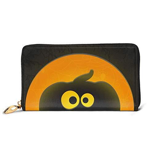 レディースバッグ 財布 紙のスタイルで笑顔のジャックオランタンと面白いハロウィーングリーティングカード 大容量 本革 長財布 人気 RFID プレゼントBOX付き 10.5X19CM
