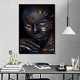 ganlanshu Pintura sin Marco Cara Creativa Maquillaje fantasía Acuarela póster Bella Dama Artista de la Pared decoración del hogarZGQ4066 60X80cm