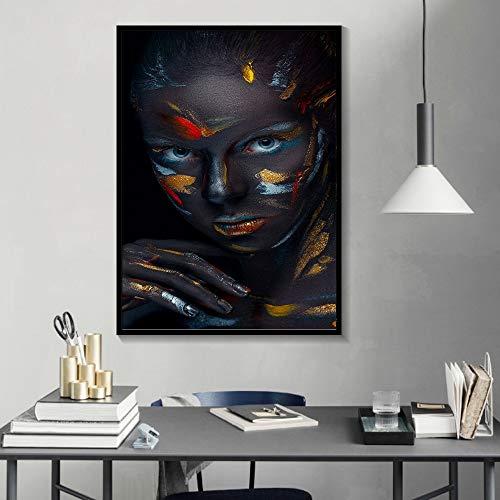 KWzEQ Rahmenlose Malerei Kreatives Gesicht Make-up Fantasie Aquarell Poster schöne Dame Wandkünstler Home DecorationAY7344 30X40cm