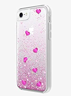 Milk & Honey Valentine's Day Liquid Case for iPhone 8/7/6/6s - Clear with hearts and glitter