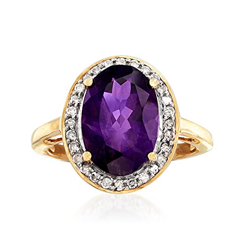Ross-Simons 3.90 Carat Amethyst and .21 ct. t.w. Diamond Ring in 14kt Yellow Gold. Size 8 (0.21 Ct Color)