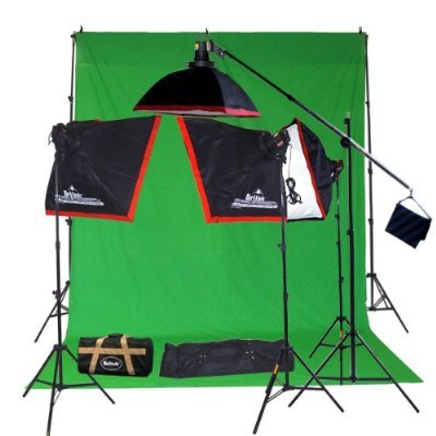 Britek#FK3800AIO Professional Photography Fluorescent Lighting Kit with Boom Stand+4 Cool Light Holder+4 Fluorescent Lamp+4 Softbox+3Compact Light Stand+1 Studio Boom stand+1 Crossbar Background Support+2 Carrying Bag+1 Green muslin Screen 9'x15