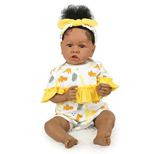 African American Reborn Baby Doll 22 inch Realistic Baby Girl for Age 3+