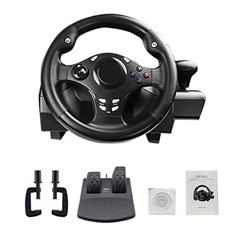 Eruditter Volant de Course Pro Volant 270° pour PS4/PS3/PC/XBOX-ONE/XBOX-360/Switch/Android - Volant de Gaming avec Pédale & Vibrations