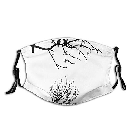 Confortevole copertura antivento monocromatica ramo albero con corvi sagome astratto disegno di uccello, decorazione facciale stampata per adulti