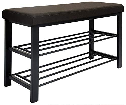 DuneDesign Schuhregal 81x32x46 cm offener Schuhschrank mit 2 Böden stabile Sitzbank Schuhbank aus Metall gepolsterte Leinen Sitzfläche Dunkel Braun