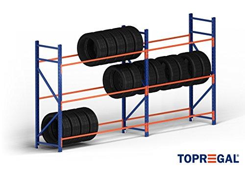 Estantería para neumáticos B-Ware 4,6 m de ancho, 200 cm de alto, 60 cm de profundidad con 3 niveles para 72 neumáticos.