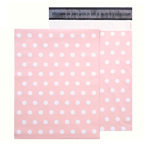 """Pink Poly Mailer - 100 Pack Pink Matte Finish Plastic Mailing & Shipping Bag with White Polka Dot 10"""" x 13"""" inches"""