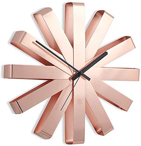 RVS Lint Wandklok/Decoratieve Creatieve Persoonlijkheid Circulaire Wandklok (Kleur : Roségoud, Maat : 30cm)