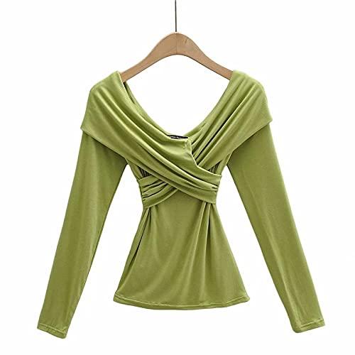 Damski dekolt w serek Seksowna koszulka Moda Jednolity kolor Z długim rękawem Slim Wygodny Trend Indywidualny europejski styl Letni topM