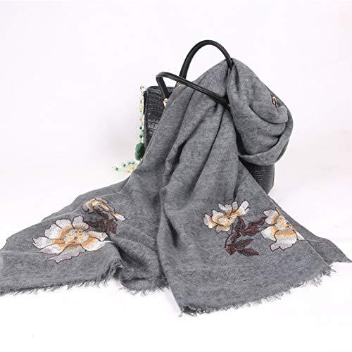 RRQS sjaal, lente en herfst, bloemen, eenkleurig, wol, sjaalkraag, dames, reizen, vrije tijd, dubbel gebruik, warm