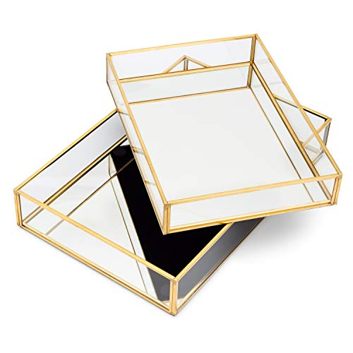 Lumturi 2 Pcs Gold Mirror Tray Decorative, Gold Vanity Tray, Gold Perfume Tray, Dresser Tray, Decorative Jewelry Tray, Perfume Organizer, Makeup Tray for Vanity, Bedroom, Dresser