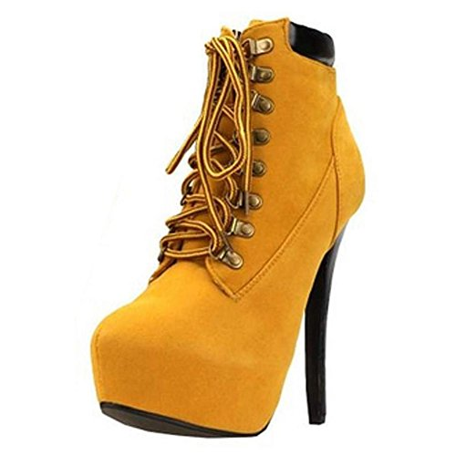 Minetom 2016 Damen Sexy Boots Stilettos Spitzschuh Schnürschuhe Knöchel Stiefeletten Super High Heels ( Braun EU 39 )