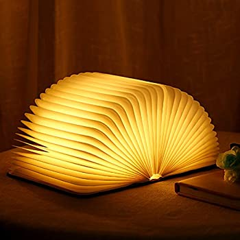 Molbory Wooden Book Light,Novelty Folding Book Lamp Folding Night Light,USB Rechargeable Wooden Table Lamp,Magnetic Design- Creative Gift Home & Office Décor for Famliy & Girlfriend