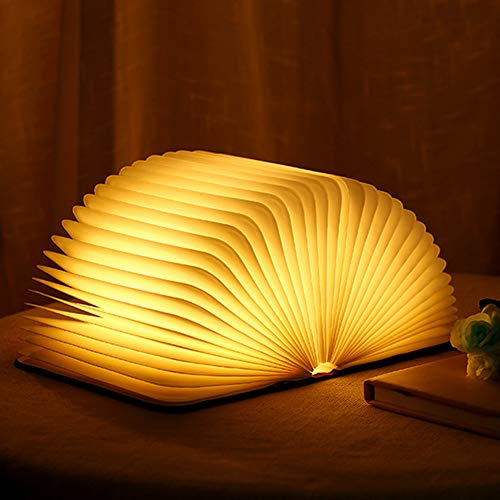 Lámpara de libro con luz LED plegable, lámpara de libros, iluminación LED, iluminación ambiental, recargable por USB, luz blanca cálida, luz nocturna, lámpara de noche para niños, novia
