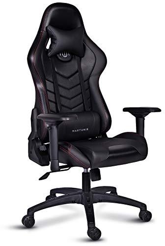 MARTUNIS Gaming-Stuhl mit 4D-Armlehne, Kohlefaser-Gaming-Stuhl, Gaming-Stuhl, Schreibtischstuhl, Sport-Gaming-Sitz, Rückenlehne aus PU-Leder, Drehstuhl mit Lendenwirbelstütze und Kopfstütze Kissen