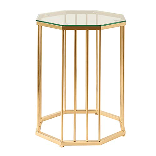 Coffee Tables Octagon Glass Side Corner Sofa Table Coffee Tea Nightstand Lamp Table | with Gold Metal Bracket | for Bedside Hallway Living Room
