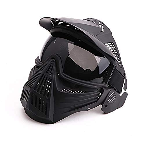 Anyoupin Paintball Mask, Airsoft Mask Full Face with Goggles Impact Resistant for Airsoft BB Hunting CS Game Paintball and Other Outdoor Activities Black-Gray-Lens
