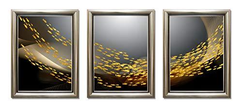 ABM Home - Cuadro enmarcado de pared, estilo vintage, lienzo enmarcado, póster grande (marco A Classic Champagne, 12C)