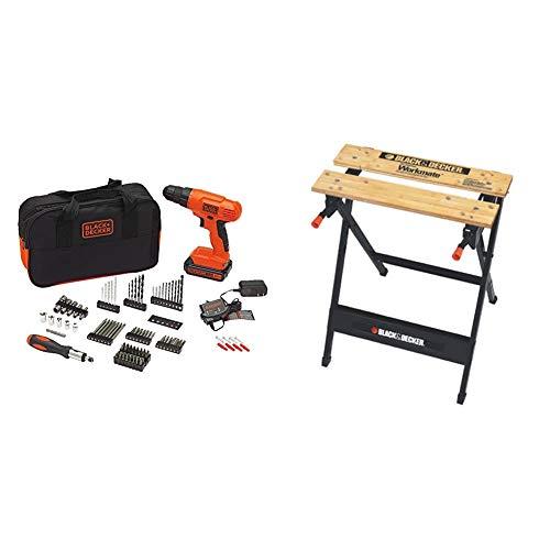 BLACK+DECKER 20V MAX Drill & Drill Bit Set, 100 Piece with Workmate Portable Workbench, 350-Pound Capacity (BDC120VA100 & WM125)