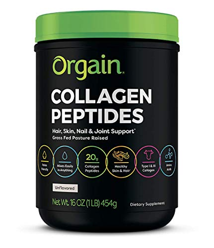 Orgain Grass Fed Hydrolyzed Collagen Peptides Protein Powder - Paleo & Keto Friendly, Amino Acid Supplement, Pasture Raised, Dairy Free, Non-GMO, Type I and III, 1 Pound (Packaging May Vary)