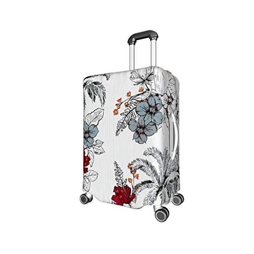 XJJ88 Plant Flowers Bird Travel Suitcase Covers - Flowers Stylish 4 Sizes fit Many Luggage Black m (22-24 inch)